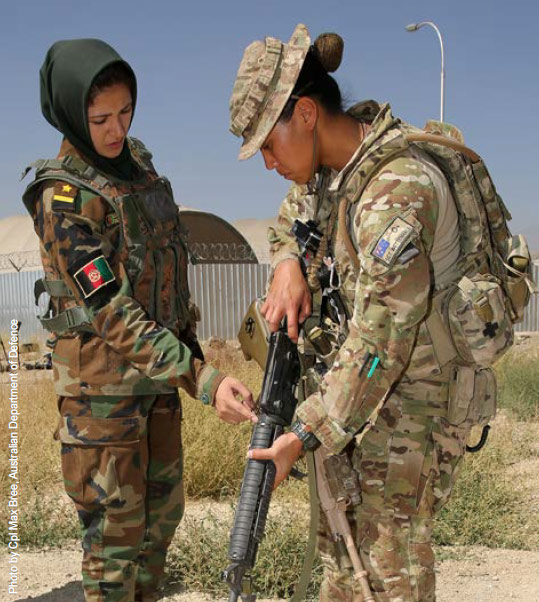 Empowering women: an Afghan officer trains with an Australian mentor in Kabul.