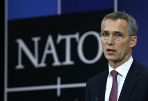 NATO Secretary General Stoltenberg speaks at the Alliance's headquarters ahead of NATO foreign ministers meeting in Brussels